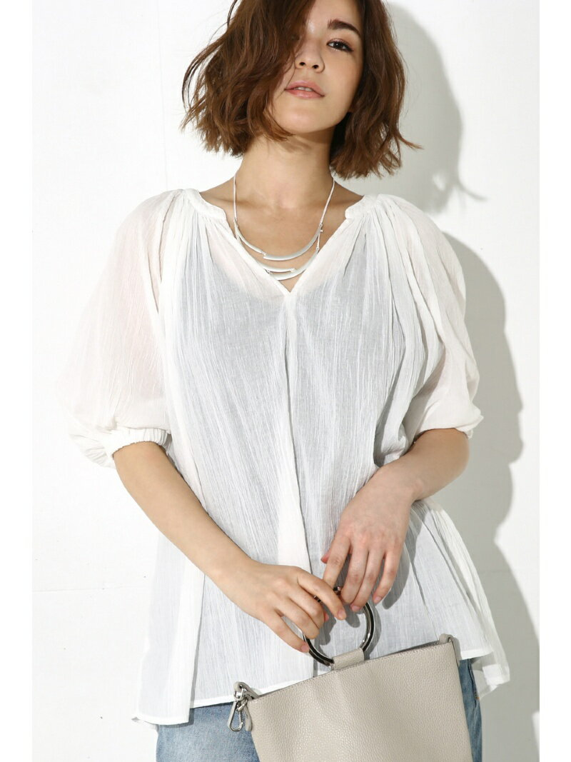 【SALE/50%OFF】AZUL by moussy 衿ギャザースキッパーブラウス アズールバイマウジー カットソー【RBA_S】【RBA_E】