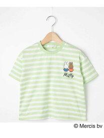 3can4on 【90-120cm】【ミッフィー】ボーダーTシャツ サンカンシオン カットソー Tシャツ グリーン ピンク