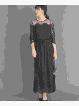 ドットチュール×パネルレースドレス