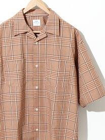 【SALE/70%OFF】coen チェックオープンカラーワイドフィットシャツ コーエン シャツ/ブラウス 半袖シャツ ベージュ ブラック