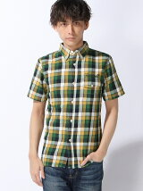 [HOUSTON]刺繍半袖チェックシャツ