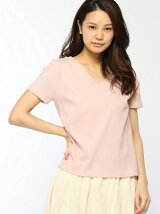 カラーカットリブTシャツ