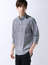 ダウンチェック切り替え七分袖シャツ
