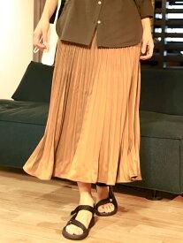 【SALE/67%OFF】BAYFLOW (W)サテンプリーツスカート ベイフロー スカート プリーツスカート/ギャザースカート ブラウン ベージュ グリーン