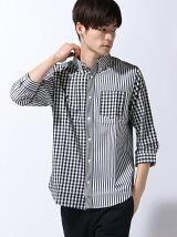 チェックストライプ切り替え七分袖シャツ