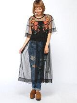 【Dukkah】(L)シアー刺繍ロングワンピース