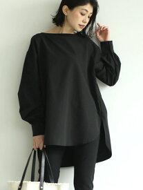 coca ボートネックバルーンスリーブシンプルブラウス コカ シャツ/ブラウス 長袖シャツ ブラック ホワイト