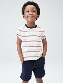 【SALE/25%OFF】GAP (K)オーガニック ミックスマッチ ストライプtシャツ (幼児) ギャップ カットソー キッズカットソー ホワイト ネイビー イエロー