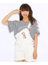 ★ニコラ掲載★袖レースアップワッペンTシャツ
