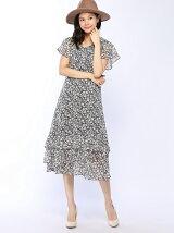 シフォン小花柄裾フリルワンピース