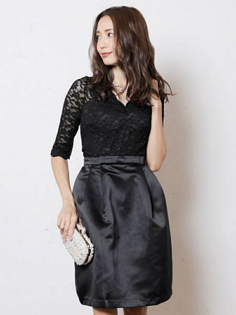 【SALE/60%OFF】Dress Lab Dress Lab/上品リボン&総レースミニドレス クリーム ワンピース【RBA_S】【RBA_E】【送料無料】