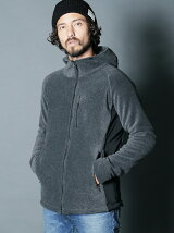 FLEECE SWITCHING NYLON STAND ZIP HOOD PARKA
