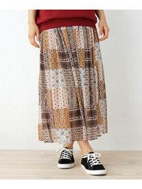 【SALE/73%OFF】SHOO・LA・RUE オリエンタルパッチワーク柄スカート シューラルー スカート ロングスカート ベージュ ネイビー