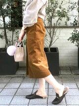コーデュロイフープジップタイトスカート