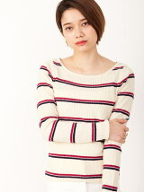 RIB KNIT BORDER tops