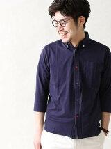 【WEB限定】ギザコットン天竺7分袖クレイジーボタンカットシャツ