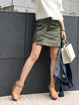 サテンストレッチラップタイトスカート