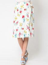 ブルーミングプリントラップ風スカート
