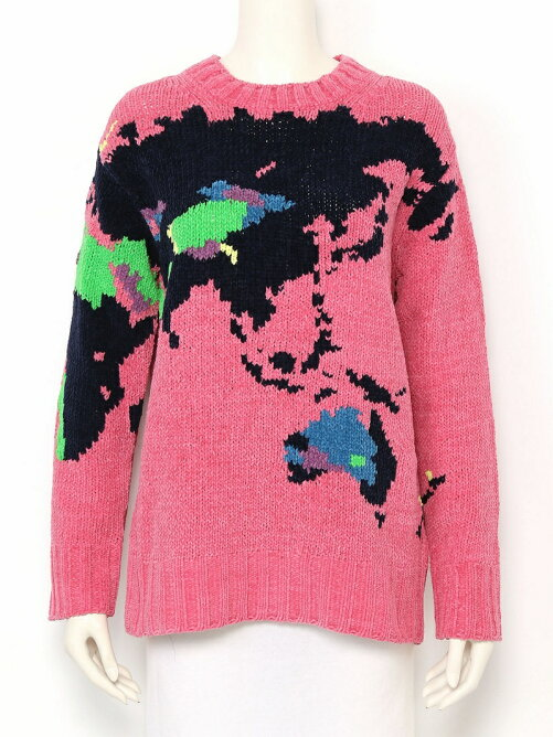 world map intersiacotton mall pullover