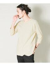 クルーネックワッフルビッグロング7分袖Tシャツ
