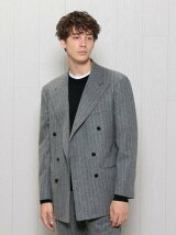 <H>FLANNEL CHALK STRIPE DOUBLE 6B JACKET/ジャケット ◆