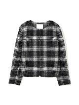 ◆大きいサイズ◆ループチェックツイードジャケット