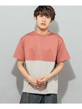 バイカラーブロックドTシャツ(5分袖)