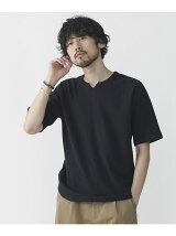 ジャガードメッシュキーネックTシャツ