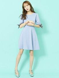 【SALE/70%OFF】titty&Co. リボンスリーブニットワンピース ティティー アンド コー ワンピース ニットワンピース ブルー ネイビー ピンク