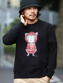 BEAMS T 【SPECIAL PRICE】BEAMS T / Check Bear Crewneck Sweatshirt ビームスT カットソー Tシャツ ブラック ネイビー【送料無料】