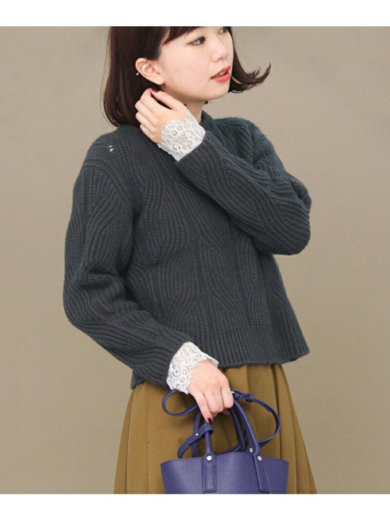 KBF KBF+ 袖レース柄編みプルオーバー ケービーエフ【送料無料】