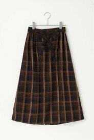 ikka モールチェックナロースカート イッカ スカート フレアスカート ネイビー ベージュ【送料無料】