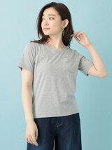 Petit Fleur Vネックポケット付Tシャツ