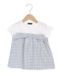 【SALE/60%OFF】ドビーチェックレイヤード風Tシャツ ベベ オンライン ストア カットソー【RBA_S】【RBA_E】