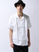 (M)リネンオープンカラーシャツ7PUJP(日本限定)