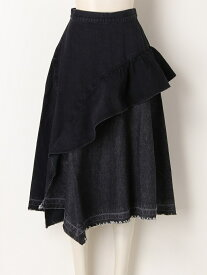 【SALE/45%OFF】FURFUR アシメペプラムデニムスカート ファーファー スカート デニムスカート ブラック ネイビー ブルー【送料無料】