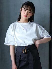 【SALE/50%OFF】ZIDDY ロックステッチ カラー ルーズ Tシャツ(130~160cm) ベベ オンライン ストア カットソー Tシャツ ホワイト オレンジ