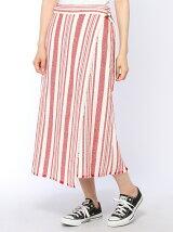 マルチストライプラップスカート