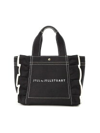 JILL by JILLSTUART フリルキャンバストート(小) ジル バイ ジルスチュアート バッグ バッグその他 ブラック ホワイト ブルー【送料無料】