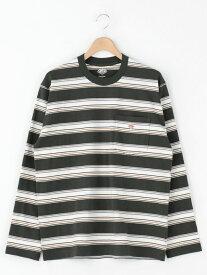 Bshop 【DANTON】長袖ポケットTシャツ STRIPE MEN ビショップ カットソー Tシャツ レッド【送料無料】