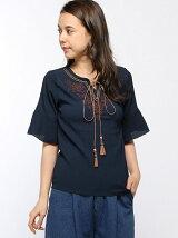 エスニック刺繍のフレア袖ブラウス