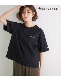 【SALE/15%OFF】ROPE' PICNIC 【CONVERSE】ロゴシシュウTシャツ ロペピクニック カットソー カットソーその他 ブラック ホワイト ベージュ ブルー ピンク イエロー