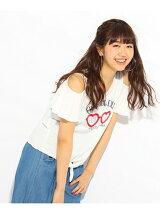 ★ニコラ掲載★ハートグラス肩あきTシャツ