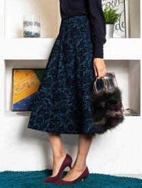 Viaggio Blu フラワーフロッキーフレアスカート ビアッジョブルー スカート スカートその他 ブルー ブラウン【送料無料】