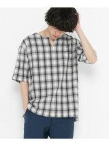 オンブレチェックプルオーバー(5分袖)