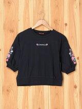 袖刺繍5分袖T