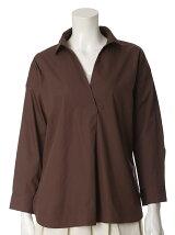 《WEB限定大きいサイズ》プランジングネックコットンシャツ