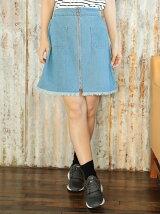 Petit Fleur リングファスナーデニムミニスカート