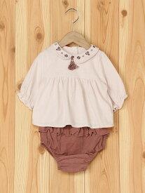 【SALE/20%OFF】petit main 襟刺繍ブラウスセット ナルミヤオンライン カットソー キッズカットソー ピンク ホワイト