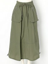 NYLON/COTTON UTILITY MAXI SKIRT